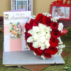 Anniversary Mix Roses Bouquet with Greeting Card