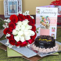 Anniversary Mix Roses Hand Tied Bouquet with Fresh Chocolate Cake and Greeting Card