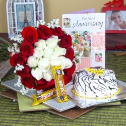 Anniversary Mix Roses Hand Tied Bouquet with Fresh Vanilla Cake and 5 Star Chocolates