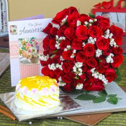 Anniversary Red Roses Bouquet and Pineapple Cake with Greeting Card