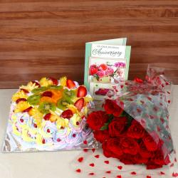 Anniversary Red Roses Bouquet Combo with Greeting Card and Mix Fruit Cake