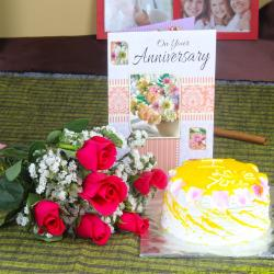 Anniversary Red Roses with Pineapple Cake and Wishes Card