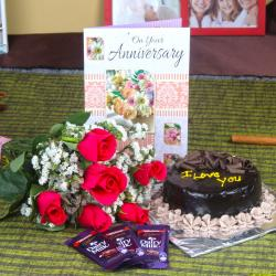 Anniversary Roses with Cake and Chocolate Bars