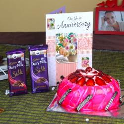 Anniversary Strawberry Cake with Silk Chocolates and Greeting Card