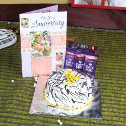Anniversary Vanilla Cake with Greeting Card and Dairy Milk Chocolates