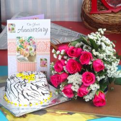 Anniversary Vanilla Cake with Greeting Card and Twelve Red Roses Bouquet