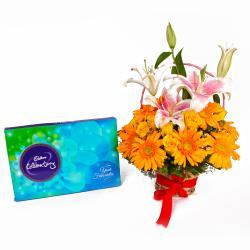 arranged of 20 Mix Fresh Flowers and Celebration Chocolate Box