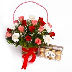 arranged of Roses with Carnations  and Ferrero Rocher Chocolate Box