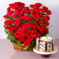 Arrangement of 50 Red Roses with Half Kg Chocolate Cake