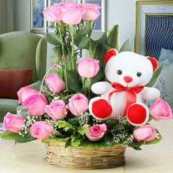 Arrangement of Fifteen Pink Roses and Cute Teddy Bear