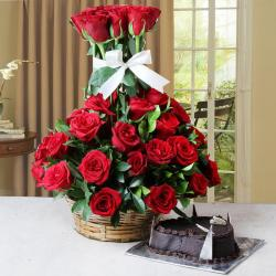 Arrangement of Fifty Red Roses with Heart Shape Cake