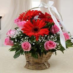 Arrangement of Mix Red and Pink Flowers