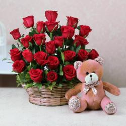 Arrangement of Red Roses and Cute Teddy Bear