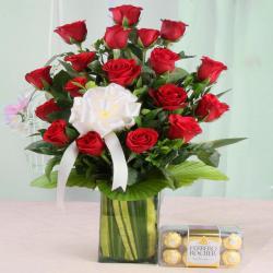 Arrangement of Red Roses with Ferrero Rocher Chocolates
