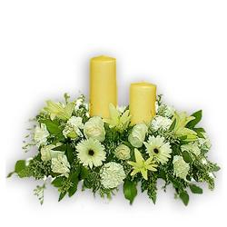 Arrangement of White Flowers With Candles