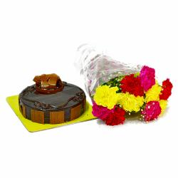 Assorted 10 Carnations Bouquet with Chocolate Cake