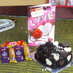 Assorted Chocolate with Heart Shape Chocolate Cake and Love Greeting Card