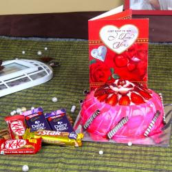 Assorted Chocolate with Strawberry Cake and Love Greeting Card