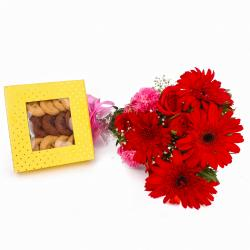 Assorted Cookies with Bouquet of Red and Pink Flowers