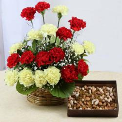 Assorted Dry Fruits with Carnations Arrangement
