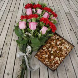 Assorted Dry Fruits with Roses and Carnation Bouquet