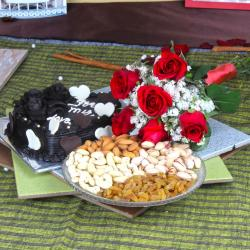 Assorted Dry Fruits with Roses Bouquet and Heart Shape Chocolate Cake
