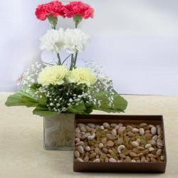 Assorted Dry Fruits with Vase of Carnations