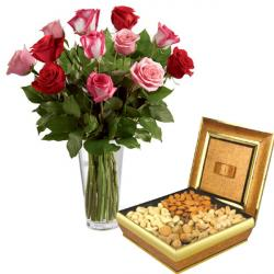 Assorted Dryfruit with Roses Vase