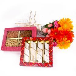 Assorted Dryfruits with Kaju Barfi and Seasonal Fresh Flowers