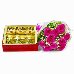 Assorted Indian Sweets with Ten Pink Roses