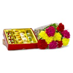 Assorted Sweets with Bouquet of 10 Mix Color Carnations