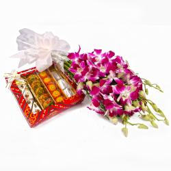 Assorted Sweets with Six Purple Orchids Bouquet