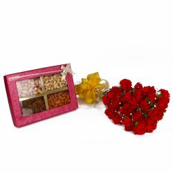 Assortment of Dryfruits with Lovely Red Carnations Bunch
