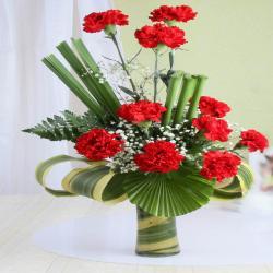 Attractive Red Carnation Arrangement