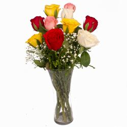 Awesome 10 Mix Roses in Vase