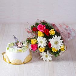 Awesome Roses and Gerberas Bouquet with Pineapple Cake