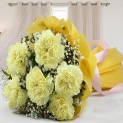 Awesome Tissue Wrapped Yellow Carnations