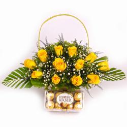Basket arranged of yellow Roses and Ferrero Rocher Chocolate Box