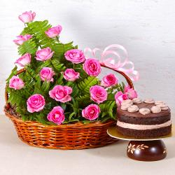 Basket Arrangement of 18 Pink Roses with Fresh Cream Chocolate Cake