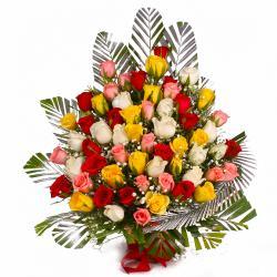 Basket Arrangement of 75 Multi Color Roses