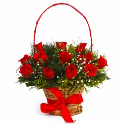 Basket Arrangement of Dozen Red Roses