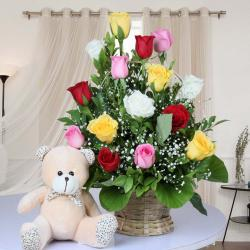 Basket Arrangement of Mix Roses with Teddy Bear