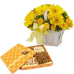 Basket arrangement of Yellow flowers  with Dryfruits