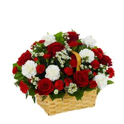 Basket beautiful Red and white flowers