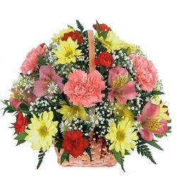 Basket Of 15 Yellow And Pink Flowers