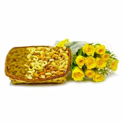 Basket of 2 Kg Assorted Dryfruits with 10 Pink Roses Bunch