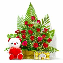 Basket of 20 Red Roses with Ferrero Rocher Chocolates and Teddy Bear