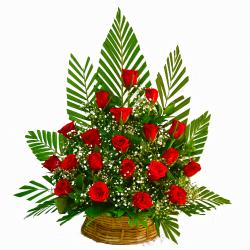 Basket of 20 Red Roses