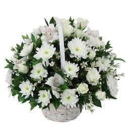 Basket of 25 White Flowers