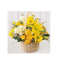 Basket of Brighten yellow flowers